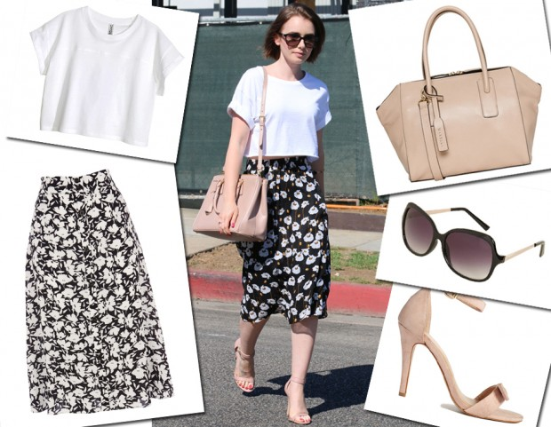 Lily Collins: t-shirt bianca, gonna a fiori e accessori cipria